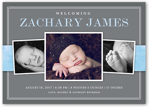 Watercolor Arrival Boy Birth Announcement