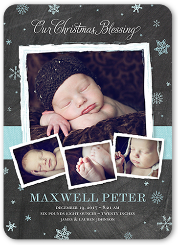 Christmas Blessing Boy Birth Announcement, Rounded Corners