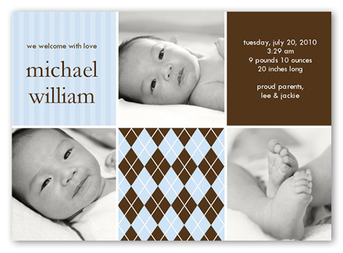 Hopscotch Time Blue Birth Announcement