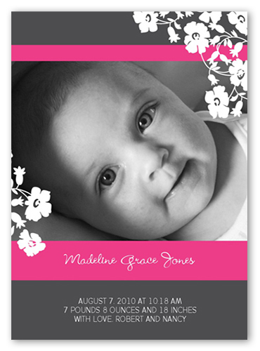 Floral Contour Pink Birth Announcement