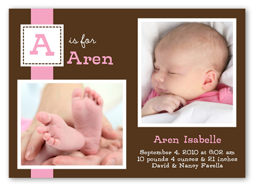 Dainty Denote Pink Birth Announcement