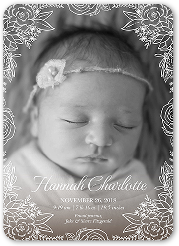 Floral Frame Newborn Birth Announcement, Rounded Corners
