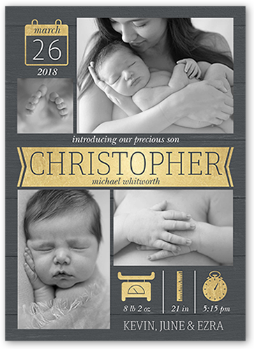 Banner Newborn Birth Announcement, Square Corners