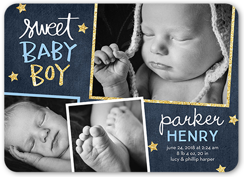 Starry Frames Boy Birth Announcement