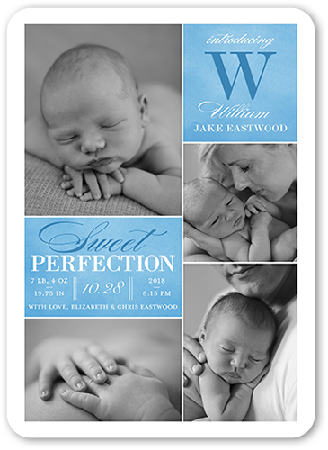 Sweet Perfection Boy Birth Announcement, Rounded Corners