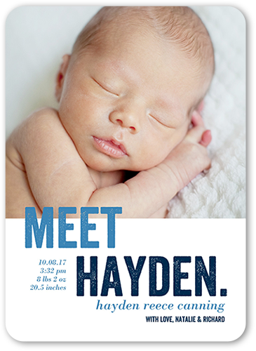 Modern Arrival Boy Birth Announcement, Rounded Corners