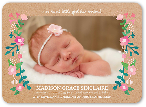Floral Rustic Frame Birth Announcement, Rounded Corners