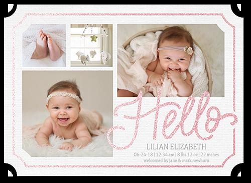 Framed Hello Girl Birth Announcement, Ticket Corners
