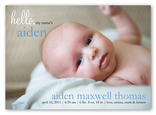 Blue Note 5x7 Stationery Card Boy Birth Announcements – Birth Announcements Shutterfly