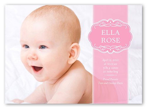 Love Package Pink Baby Girl Birth Announcements by Petite Lemon – Announcement of Birth of Baby Girl
