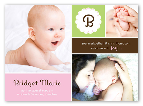 Happy Baby 5x7 Girl Birth Announcements by Stacy Claire Boyd – Announcement of Birth of Baby Girl