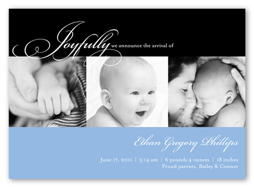 Joyfully Modern Blue Birth Announcement, Square Corners