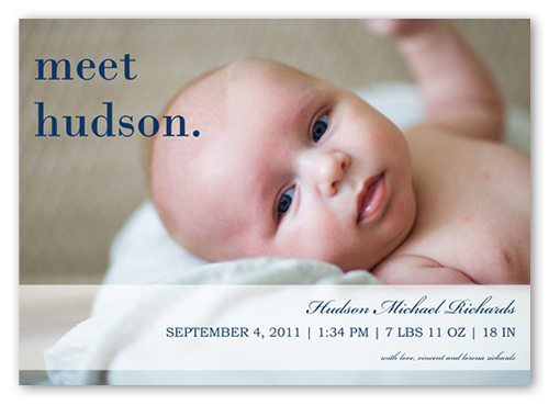 Meet Mr Blue Birth Announcement, Square Corners
