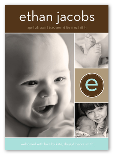 Modern Baby Boy Birth Announcement, Square Corners
