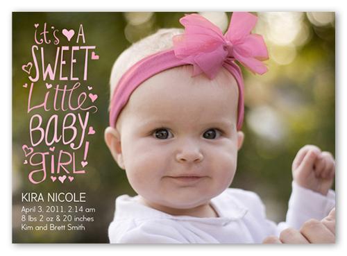 sweet scribbles girl flat birth announcement card shutterfly