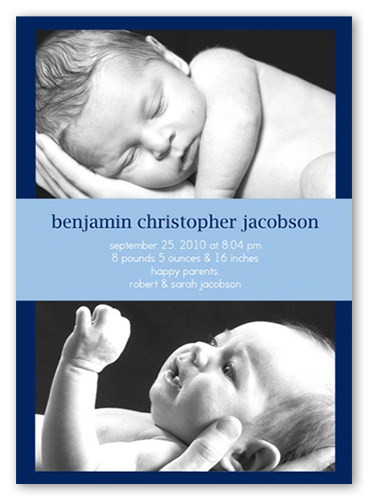 Double Take Blue Birth Announcement