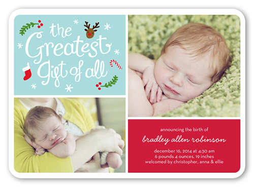 The Greatest Gift Birth Announcement, Rounded Corners