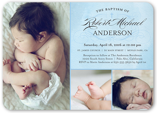 Faithful Flourish Boy 5x7 Baptism Invitations Shutterfly