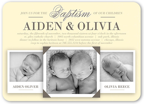 Precious Twins Baptism Invitation, Rounded Corners