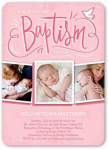 Blissful Dove Girl Baptism Invitation by Stacy Claire Boyd