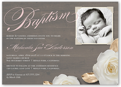 Woodgrain Girl Baptism Invitation by Yours Truly