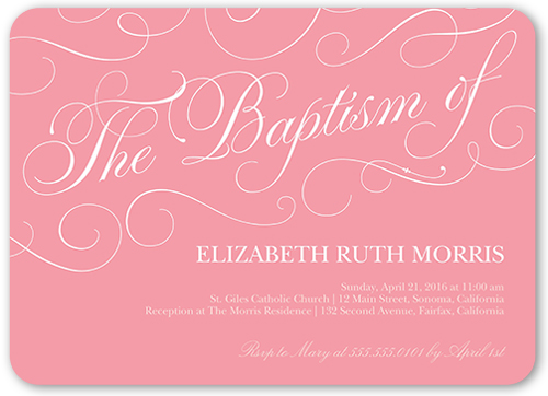 Peaceful Swirls Girl Baptism Invitation by Yours Truly