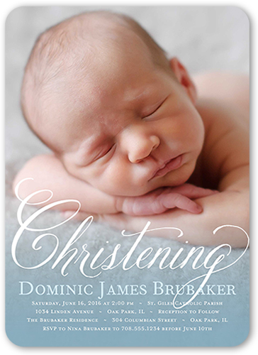Charming Script Boy 5x7 Invitation Baptism Invitations Shutterfly