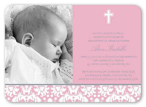 Baptism Baroque Pink Invitation Baptism Invitations Shutterfly