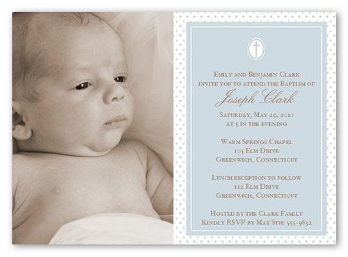 Seraphic Dots Slate 5x7 Invitation Card Baptism Invitations