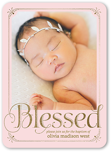 Boldly Blessed Girl 5x7 Christening Invitations