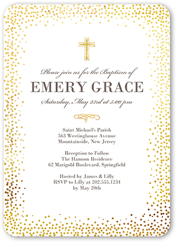 Dotted Triumph Baptism Invitation, Rounded Corners