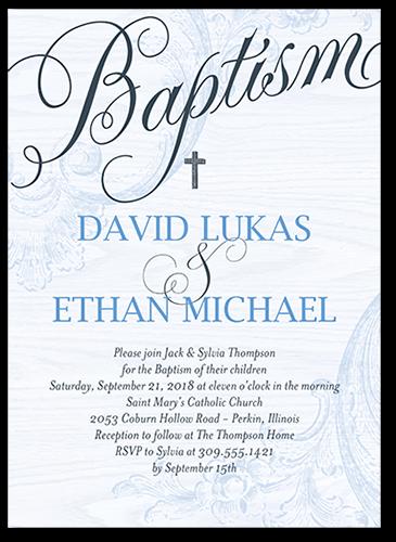Bonded Christening Boy Baptism Invitation