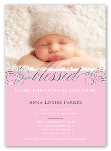 Pink photo card invitation shutterfly little blessed rose baptism invitation stopboris Gallery