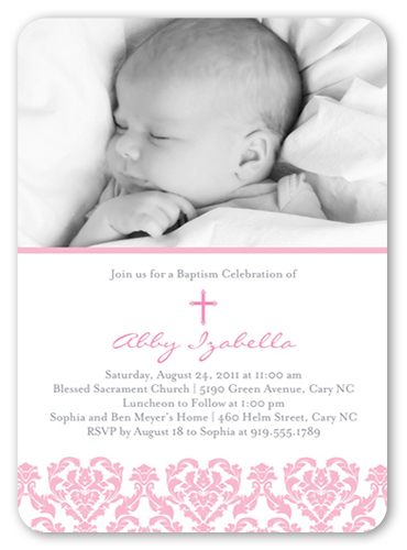 Victorian Rose 5x7 Invitation Card Baptism Invitations Shutterfly