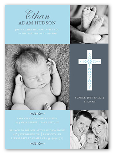 Cross Of Boy Invitation Card Baptism Invitations Shutterfly