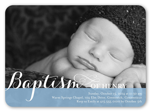 Precious Swirls Boy 5x7 Invitation Card Baptism Invitations