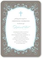 flourished border boy baptism invitation 5x7 flat