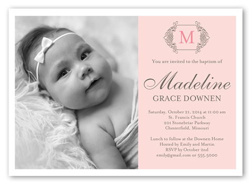 Vintage Monogram Girl 5x7 Invitation Baptism Invitations Shutterfly