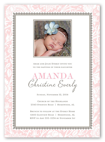 Vintage Blessings Girl 5x7 Invitation Baptism Invitations Shutterfly