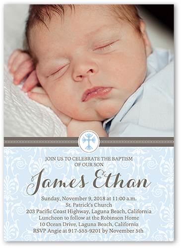 Elegant Cross Boy Baptism Invitation, Square Corners