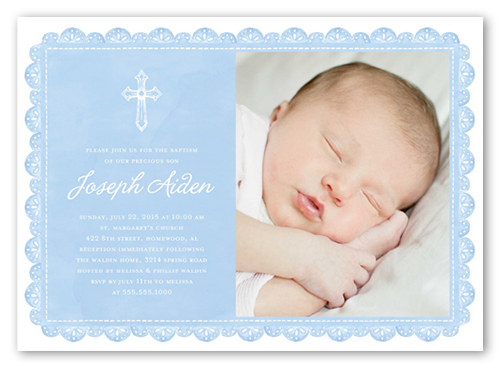 Delicate Lace Boy 5x7 Christening Invitations