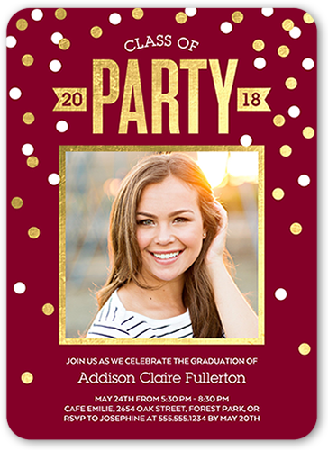 Gleeful Confetti Class 5x7 Graduation Party Invitation Shutterfly