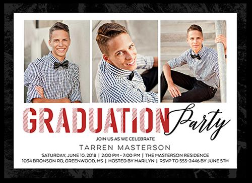 Clean Modern Grad Graduation Invitation, Square Corners