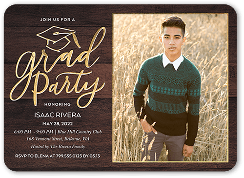 Woodgrain Grad 5x7 Graduation Party Invitation Shutterfly