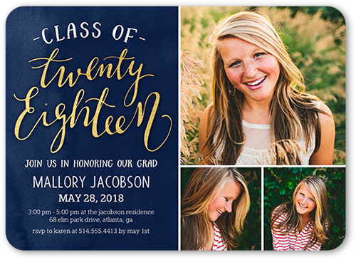Watercolor Flair Graduation Invitation, Rounded Corners