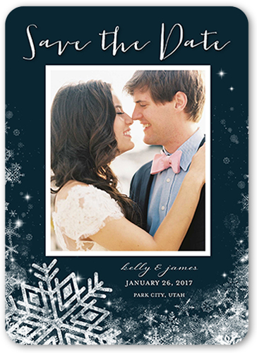 Wintery Wedding Save The Date, Rounded Corners