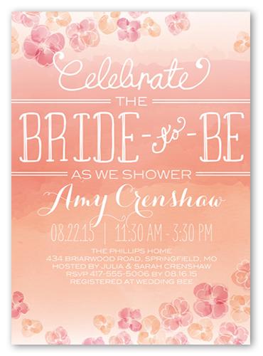 Watercolor Blooms Bridal Shower Invitation, Square Corners