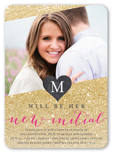 New Initial Bridal Shower Invitation, Rounded Corners