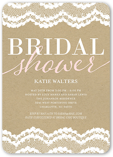 Craft And Lace Bridal Shower Invitation, Rounded Corners