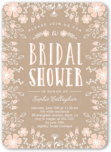 Flower Border Bridal Shower Invitation